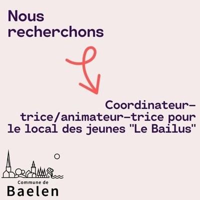 la Commune recherche un-e coordinateur-trice /animateur-trice pour son local des jeunes, le Bailus.